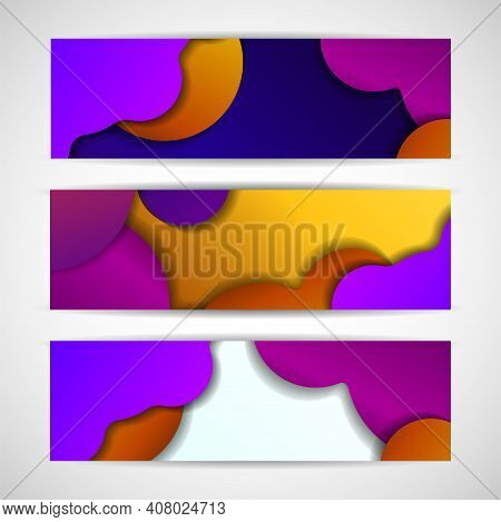 Banners Set For Business With Colorful Bright Gradients. Vector Illustration. Eps 10