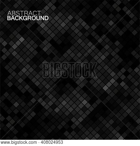 Abstract Gray Background Of Squares. Geometric Texture. Halftone Effect. Vector Illustration. Eps 10
