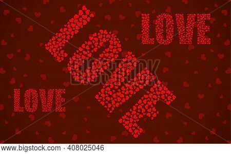 Abstract Word Love Of Little Red Hearts. Vector Illustration