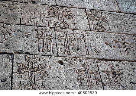 Ornamental Details And Archaic Armenian Letters In Echmiadzin, Armenia