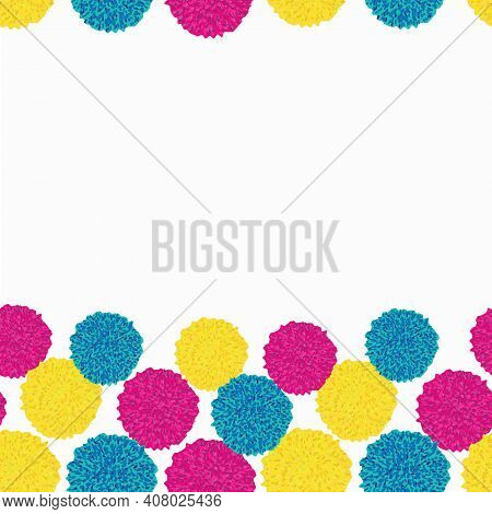 Set Of Pastel Retro Boho Pompom Bobble From Wool, Clutch In Magenta, Turquoise And Yellow. Bordure I