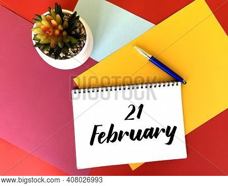 February 21 On A White Notebook On A Colorful Bright Background.next To It Is A Potted Flower And A