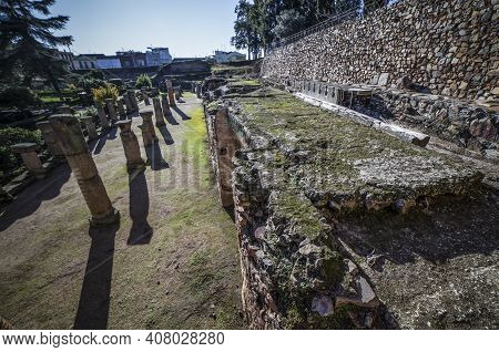 Latrines Of Merida Roman Theatre. One Of The Largest And Most Extensive Archaeological Sites In Euro