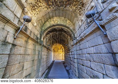 Merida Roman Theatre West Door Corridor. One Of The Largest And Most Extensive Archaeological Sites
