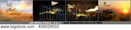 4 Illustrations Of High Detail Tank With Fictive Design And With Burundi Flag - Burundi Army Concept