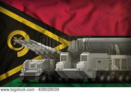 Rocket Forces On The Vanuatu Flag Background. Vanuatu Rocket Forces Concept. 3d Illustration