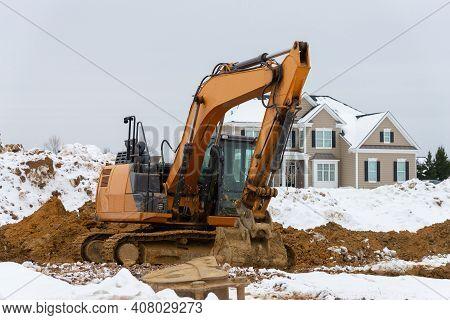 Yellow Digging Excavator Shovel Heavy Contractor Big