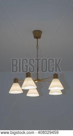 Beautiful Stylish Chandelier On The Ceiling, Bronze Vial Light Lampshade. Bronze Chandelier. Light C