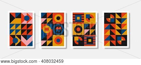 New Modernism Aesthetic In Vector Poster Design Card. Brutalism Inspired Graphics In Web Template La