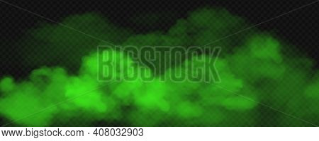 Green Toxic Smoke Fog. Vector Realistic Illustration Of Big Stink Poison Clouds, Chemical Vapour Wav