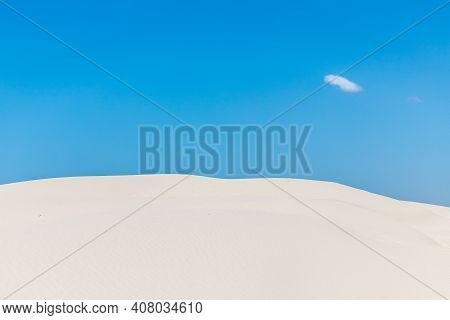 Dunes With Sand An Small Cloud In Blue Sky In Quintao, Palmares Do Sul, Rio Grande Do Sul, Brazil