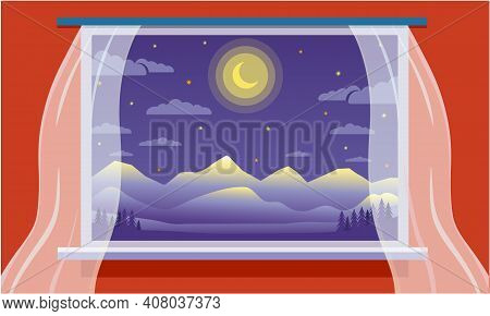 Large Panoramic Window From The Room Overlooking The Night Landscape With Mountains.