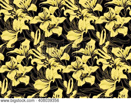 Blow-up Trendy Color Yellow Illuminating Silhouettes Of Lily Flowers, Buds And Leaves On Black Backg