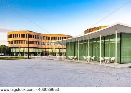 Wetzlar; Germany 2020_06_22: Gastronoy Leitz-park. Industrial Part Of Wetzlar, Headquarter From  Lei