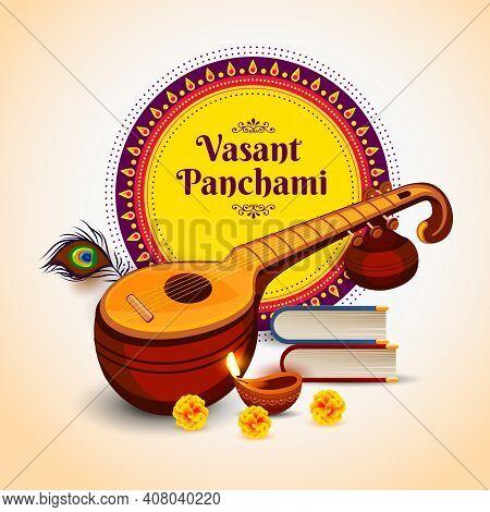 Vector Illustration Of Happy Vasant Panchami Indian Religious Festival Of Goddess Saraswati Celebrat
