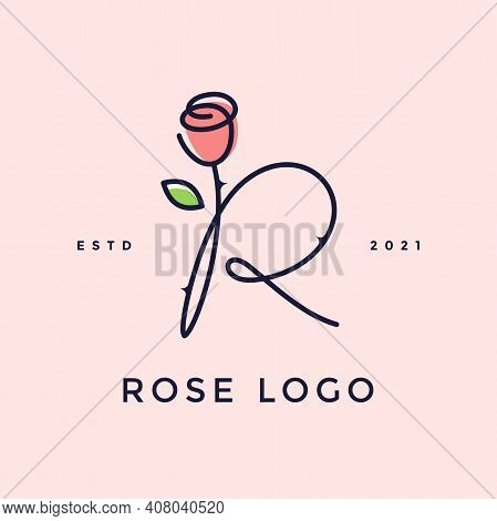 Beauty And Charming Simple Illustration Logo Design Initial R Combine With Rose Flower.