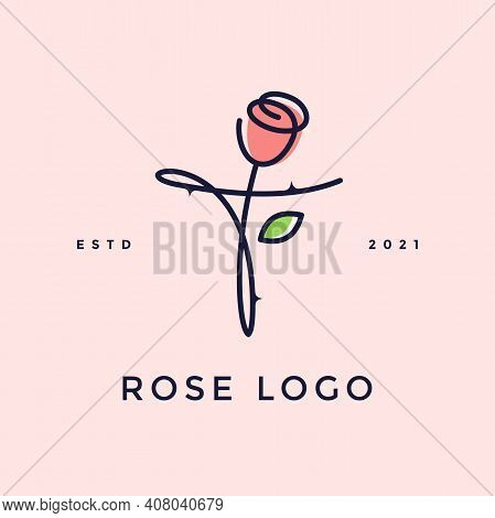 Beauty And Charming Simple Illustration Logo Design Initial T Combine With Rose Flower.
