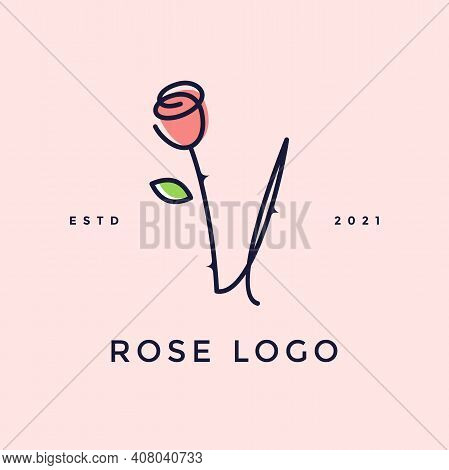 Beauty And Charming Simple Illustration Logo Design Initial V Combine With Rose Flower.