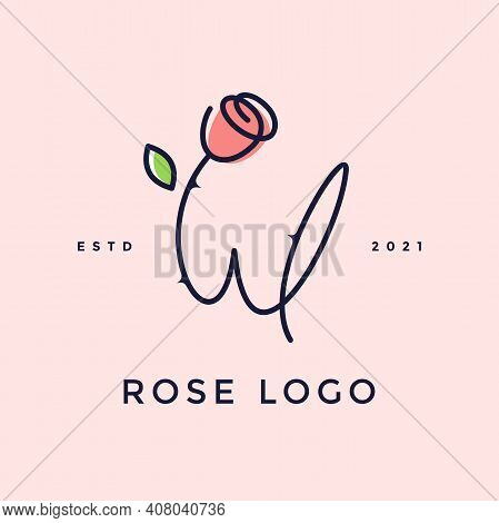 Beauty And Charming Simple Illustration Logo Design Initial W Combine With Rose Flower.