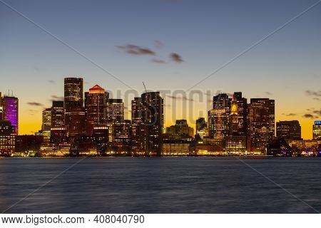 Boston City Skyscrapers, Custom House And Boston Waterfront At Sunset From East Boston, Boston, Mass