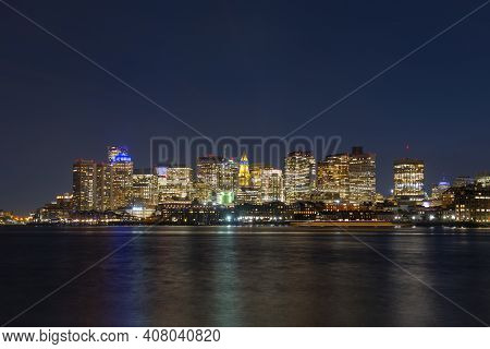 Boston City Skyscrapers, Custom House And Boston Waterfront At Night From East Boston, Boston, Massa