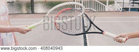 Racquet Tap, Greeting Or Finishing Tennis Game Post Covid 19 Coronavirus Pandemic, New Normal Sport