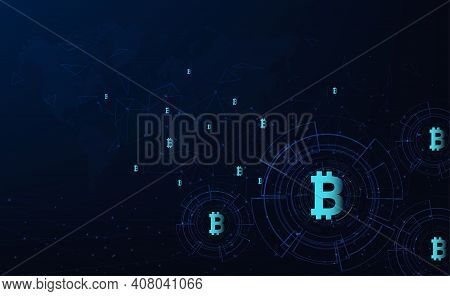 Bitcoin Currency Background.digital Currency And Technology Concept.vector Illustration.