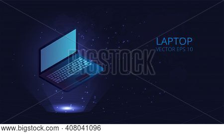 Laptop.devices And Technology Concept.laptop Vector 3d On Blue Background.vector Eps 10