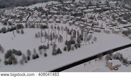 Winter Scenery Roof Houses Snowy Residential Small Town During A Winter Day After Snowfall Of Aerial