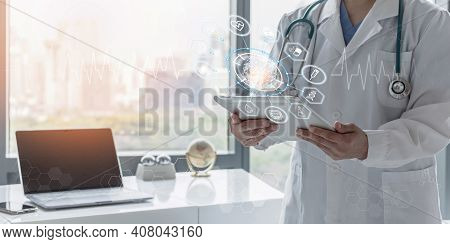 Medical Tech Science Ai Technology, Innovative Iot Global Healthcare With Doctor On Telehealth, Tele