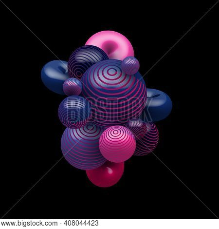 Abstract 3d Blue And Pink Gradient Color Decorative Realistic Balls Flying Random On Black Backgroun