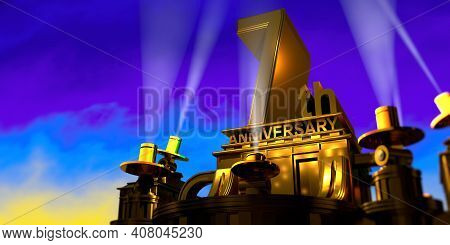 7th Anniversary In Thick Letters On A Large Golden Antique Style Building Illuminated By 6 Floodligh