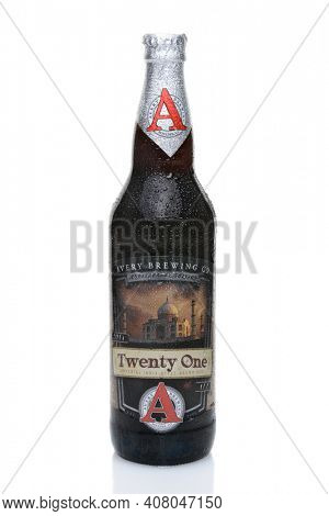 IRVINE, CALIFORNIA - JULY 14, 2014: A 22 oz. bottle of Twenty One, an Imperial India Style Brown Ale from Avery Brewing Co. established in 1993 in Boulder, Colorado.