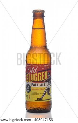IRVINE, CALIFORNIA - MARCH 5, 2019: A bottle of Old Slugger Pale Ale, brewed by the Cooperstown Brewing Company, in Queensbury, New York.