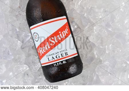IRVINE, CA - JANUARY 11, 2015: Red Stripe Jamaican Style Lager on a bed of ice closeup. Brewed in Jamaica since 1938 by Desnoes and Geddes its international distribution is handled by Diageo.