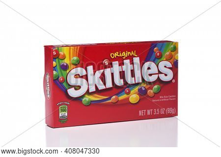 IRVINE, CALIFORNIA - JANUARY 5, 2018: Skittles Original Flavored Candies. A box of the popular fruit flavored chewy treats.