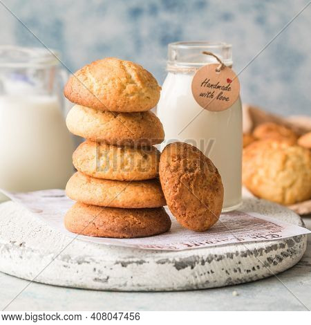 Freshly Baked Homemade Crunchy Cream Cheese Cookies. A Delicious Treat For Gourmets. Biscuits On A G