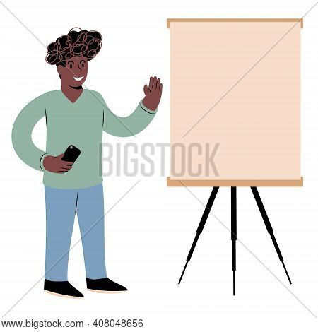 A Young Black Guy In Casual Attire In Front Of A Whiteboard. Holding Presentation, Explaining, Teach