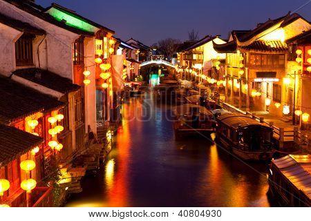East Venice city at night - Suzhou, China.