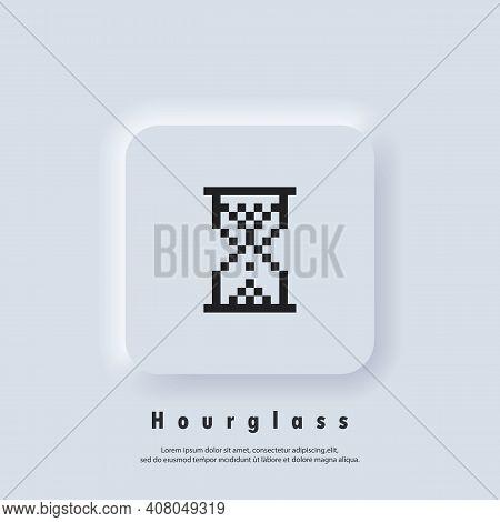 Pixel Hourglass Icon. Hourglass Logo. Vector Eps 10. Ui Icon. Neumorphic Ui Ux White User Interface