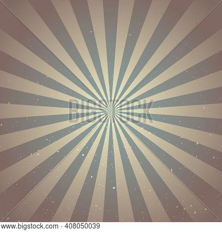 Sunlight Retro Faded Grunge Background. Brown Chocolate Color Burst Background. Vector Illustration.