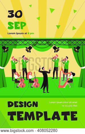Conductor And Musicians Standing On Theater Stage Flat Vector Illustration. Cartoon People Playing V