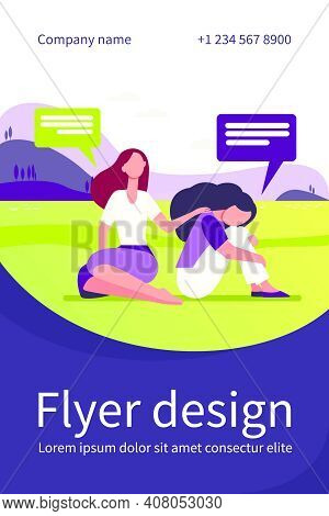 Friend Talking And Consoling Sad Woman. Nature, Speech Bubble, Support Flat Vector Illustration. Dep