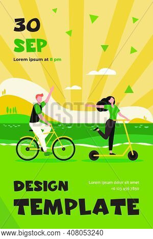 Happy Couple Riding Bike And Scooter Outdoors. People Moving Along Seaside Flat Vector Illustration.
