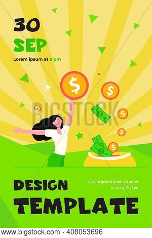 Happy Woman Getting Cash. Person Saving Money, Getting Profit Or High Income Flat Vector Illustratio