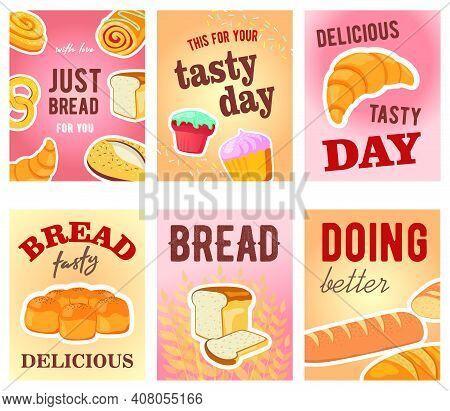 Tasty Day Greeting Card Designs With Bread And Muffins. Creative Postcards With Text And Tasty Fresh