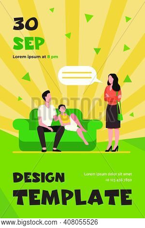 Unpleased Woman Talking With Husband And Son On Sofa. Couch, Wife, Home Flat Vector Illustration. Fa