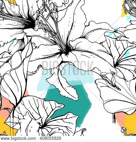 Floral Black White Print. Tropical Jungle Leaf On Geometric Brush Shapes. Modern Motif. Foliage Summ