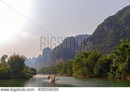 Picturesque Mountain Valleys Of Yangshuo, Guilin, Mountain River For Rafting 23.08.2019