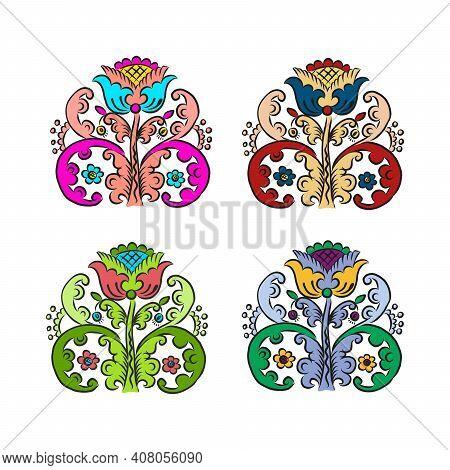 Traditional European Ukrainian Ornament. Rustic Floral Wedding Composition. Rural Folk Style Flower